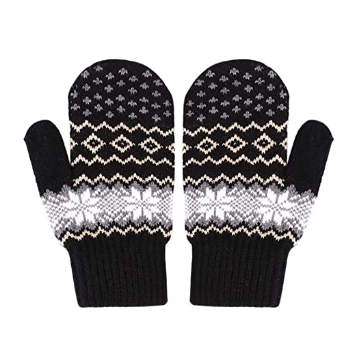 a332a695e Women Girls Winter Cold Weather Full Finger Gloves Christmas Snowflakes  Wool Knit Thick Sherpa Fleece Lined