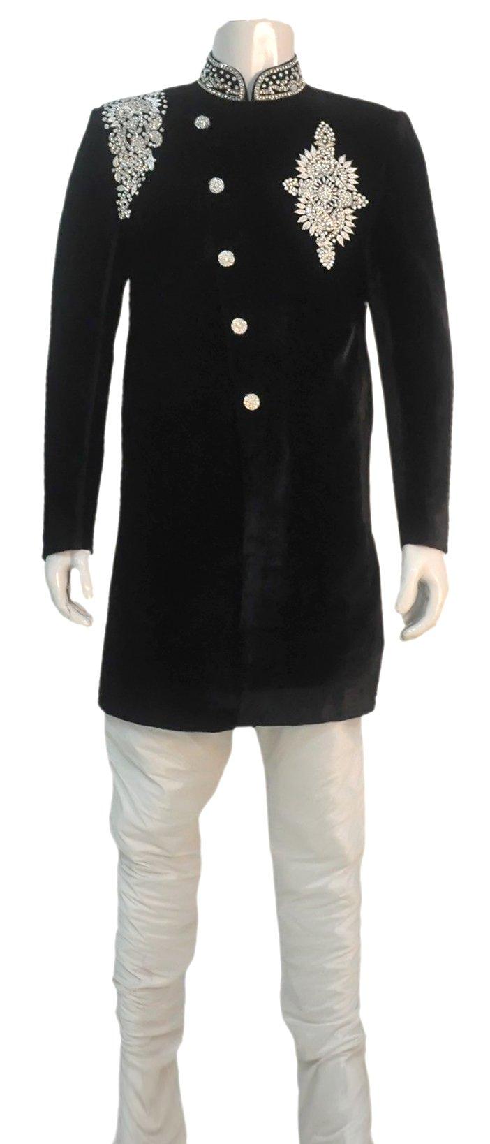 Rajwada Men's Indian Indo Western Sherwani 2pc Suit (Worldwide Post) (M (38), Black)
