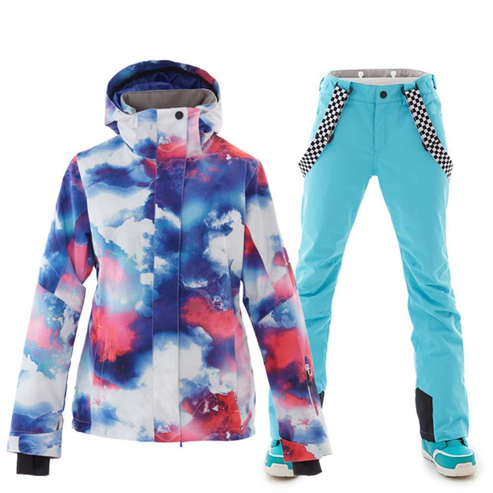 bluee Women's Ski Jacket with Pants Windproof, Warm, Ski Skiing Camping Hiking Snowboarding Poly, EcoFriendly Polyester Pants Trousers Snow Bib Pants Top Ski Wear Winter
