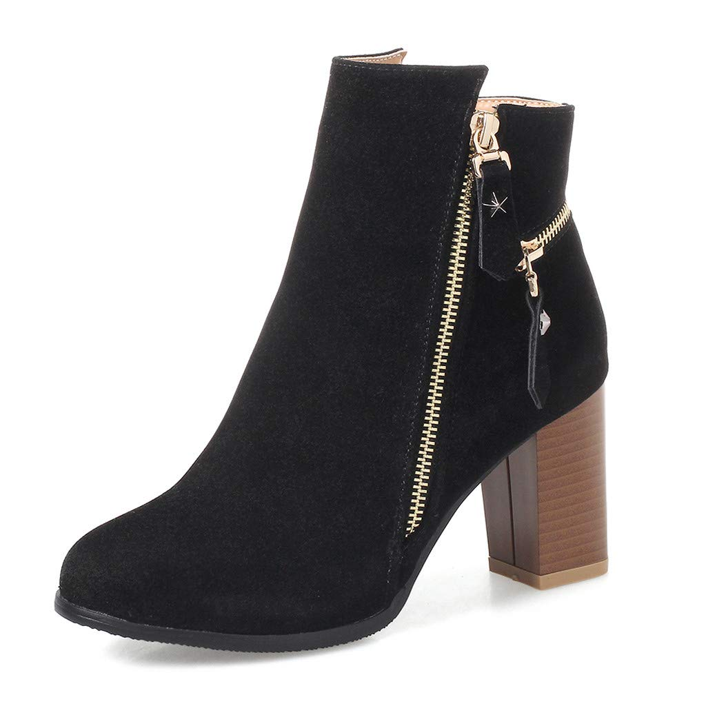 HAALIFE ◕‿Women Casual Mid Chunky Heel Ankle Booties Closed Toe Zipper Chunky Stacked Block Bootie Black by HAALIFE Shoes