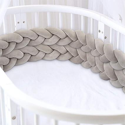 Luchild Braided Crib Bumper 118 inch Baby Crib Bumper Knotted Braided Plush Nursery for Newborns Bed Sleep Bumper Grey+White+Green
