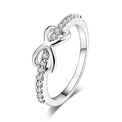 YAZILIND mujeres de la boda anillos de compromiso de oro blanco plateado banda corazón princesa corte