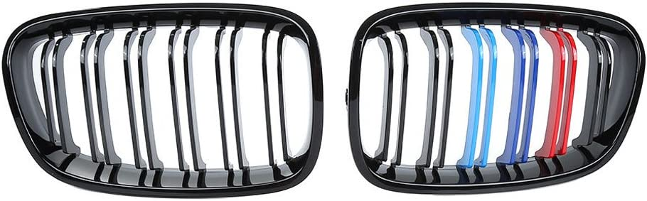 Bomcomi 1 Pair Replacement Front Bright BMW F20 Black M Color Kidney Grill For BMW F20 1 Series 10-14