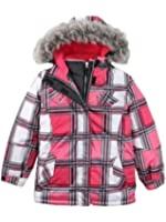 Zero Xposur Girls Pink Plaid 3-In-1 Fur Coat Puffer Ski Jacket Set