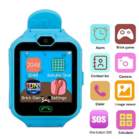 Hangang Mobile Phone Smart Kid Smartwatch Camera Games Touchscreen Toys  Cool watch, game clocks for kids, gifts for girls boys kids (Blue)