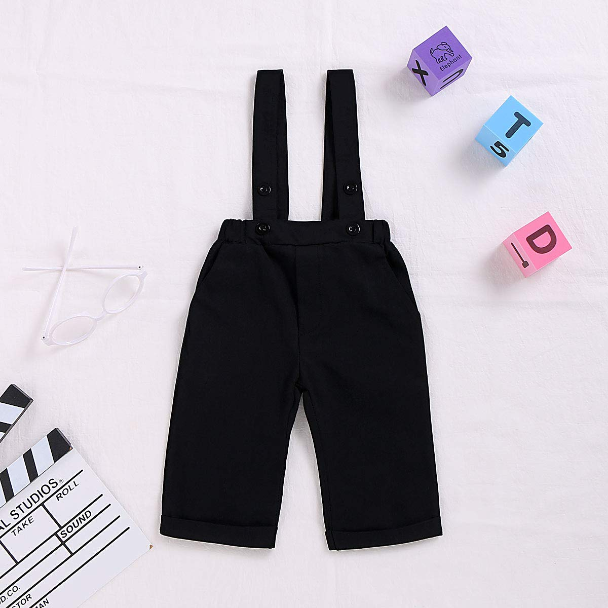 RomperinBox Toddler Baby Boy Chino Uniform Pants,Suspender Bib Overalls for Formal Dress Shirts