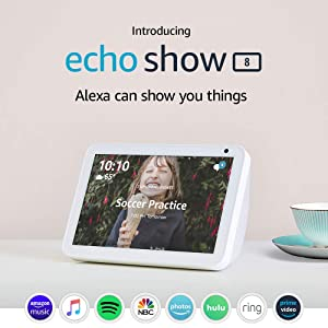 "Introducing Echo Show 8 - HD 8"" smart display with Alexa - Sandstone"