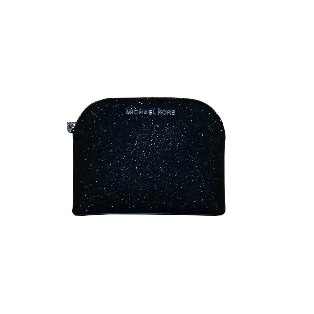 Michael Kors Glitter Leather Medium Cosmetic Case Travel Pouch Black