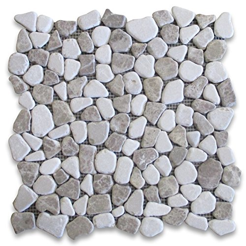 Emperador Light Mix Beige Marble River Rocks Pebble Stone Mosaic Tile Tumbled