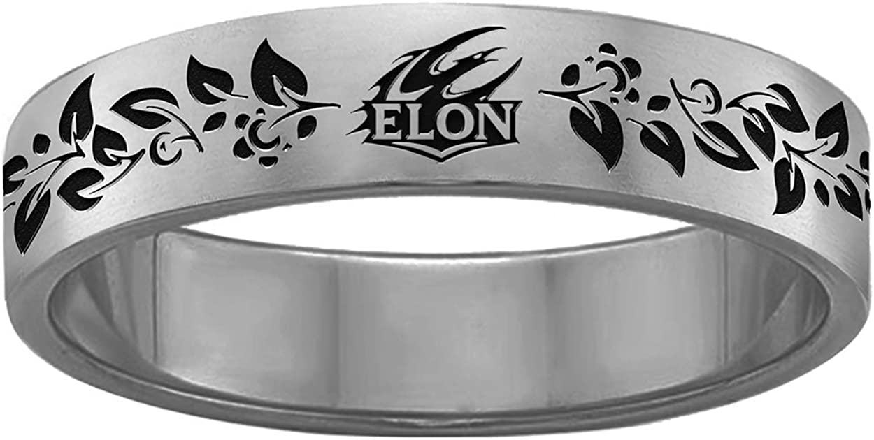 College Jewelry Organic Style Elon University Phoenix Rings Stainless Steel 6MM Wide Ring Band Vine Design