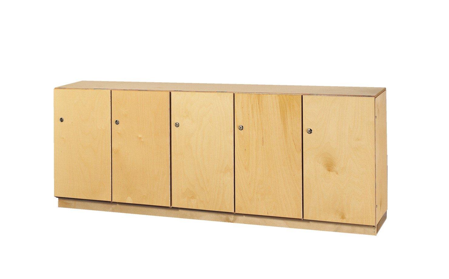 Childcraft 204154 5-Section Stacking and Locking Storage Locker, Birch Veneer Panel, 59-1/2'' x 14-1/2 x 23-3/4'', Natural Wood Tone