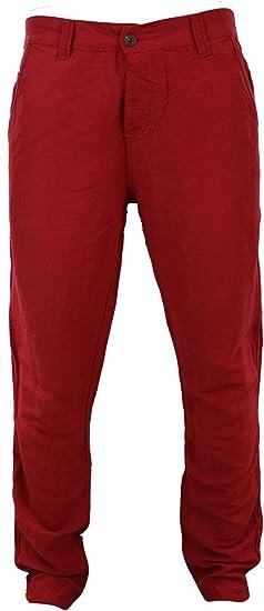 Mens Smart Casual Linen Trousers Summer Beach Holiday Red Khaki Beige Cream Blue