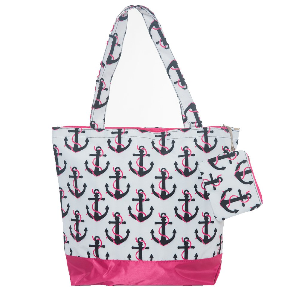 Water Resistant Anchor Zipper Beach Bag Tote (White)