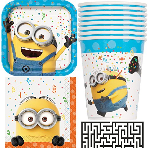 Despicable Me, Minions Lunch Napkins, Dinner Plates and Cups Party Bundle - Includes 1 Maze Game Activity Card by (Minion Plates)