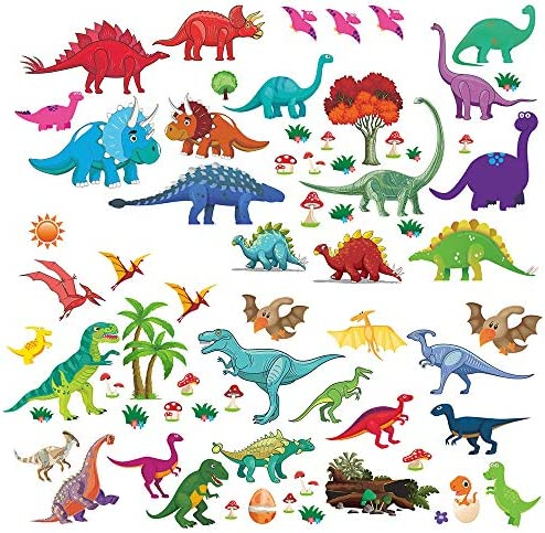 Dinosaur Decorative Stickers Colorful Removable