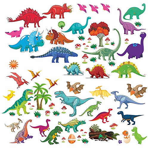 (Wall Decals Dino & Friends Decorative Dinosaur Stickers for Boys & Girls, Peel and Stick Colorful Wall Art Mural for Bedroom, Baby Nursery, Bathroom, Playroom - 81pcs Pre-cut Large and Small)