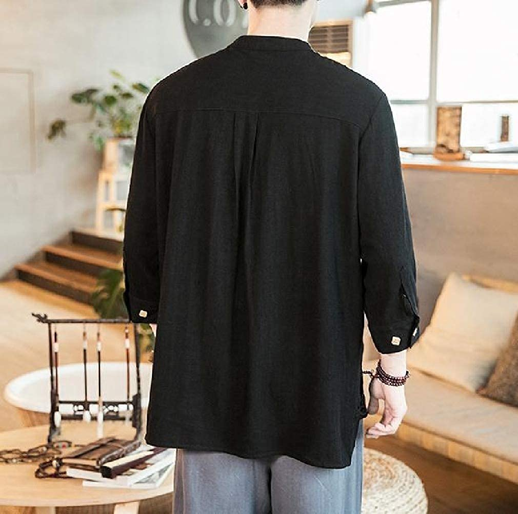 Coolred-Men Over Sized Chinese Style 3//4 Sleeve Pockets Oxford Shirt