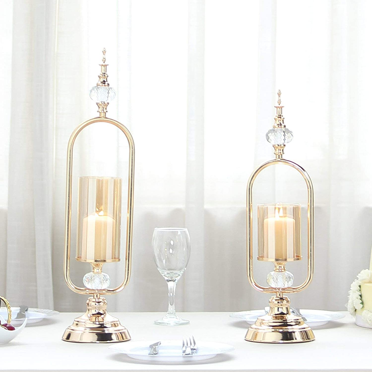 Gold Hurricane Votive Metal Candle Holder With Glass Tube And 2 Diamond Crystals Efavormart Set Of 2 22 19 Candles Holders Candleholders