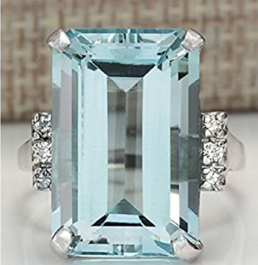Zhiwen Vintage Fashion Women 925 Silver Aquamarine Gemstone Ring Engagement Wedding Jewelry Size 5-11 (10#)