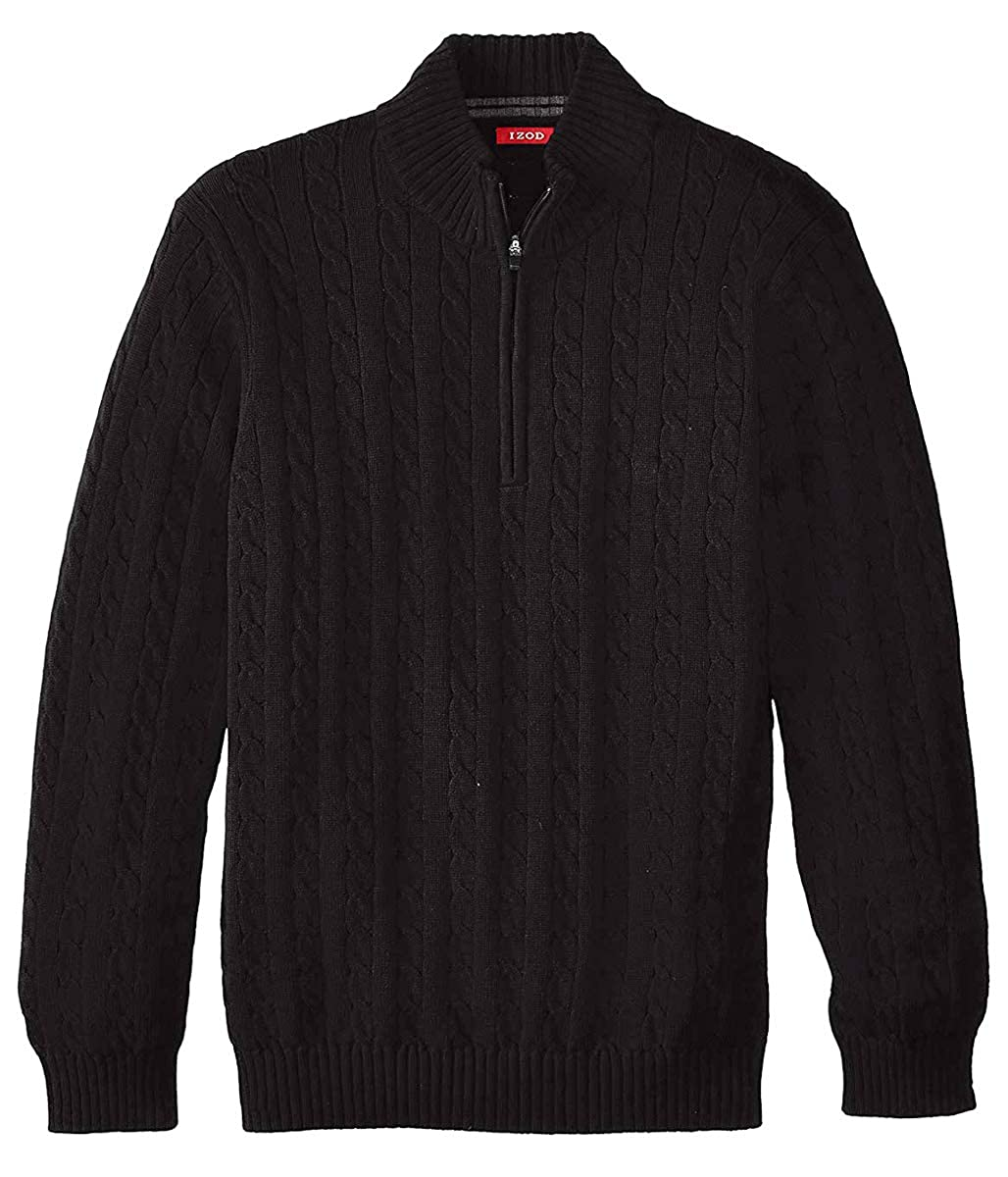 IZOD Men's Big and Tall Solid Color 1/4 Zip Cable Knit Sweater