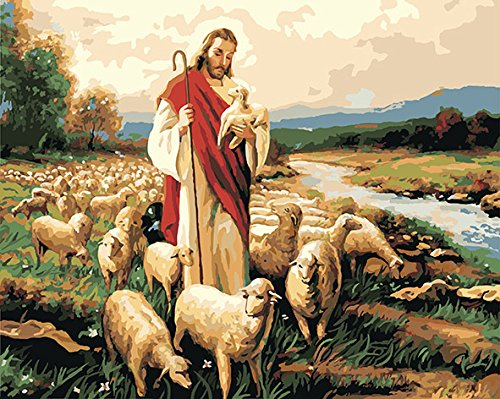 DoMyArt Diy Oil Painting, Paint By Number Kits - Jesus Shepherd 16X20 Inch