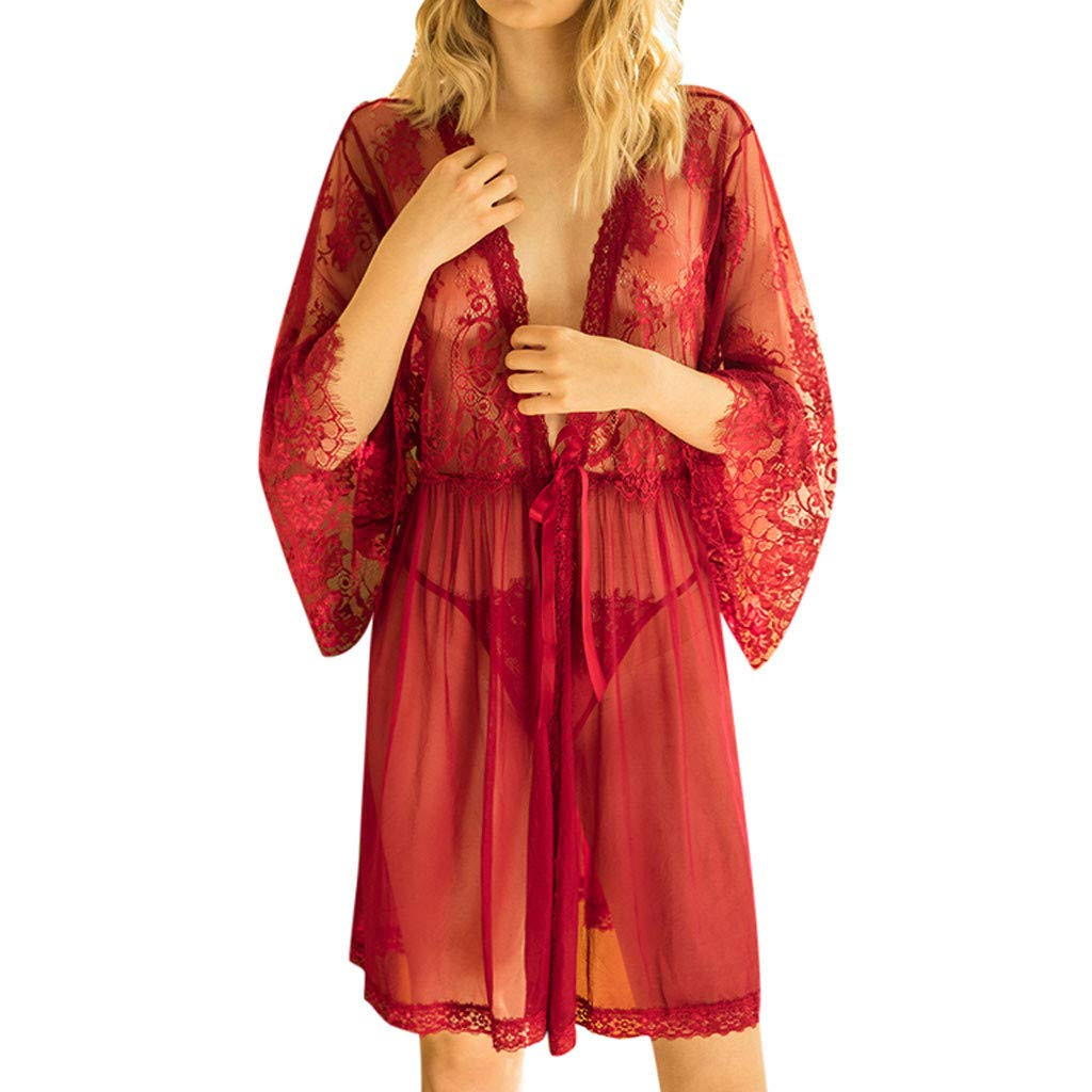 Women Lingerie Robe Long Lace Dress Sheer Gown See Through Kimono Cover Up Alalaso