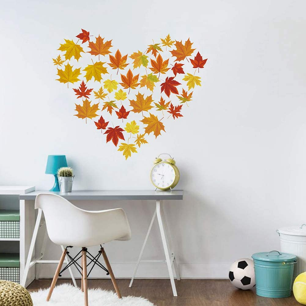 Decalplanet Maple Leaf Wall Decals Thanksgiving Autumn Leaves Falling Wall Art Stickers for Living Room Bedroom Nursery Kids Wall Decor