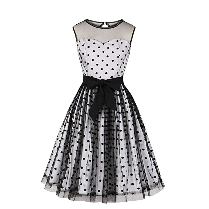1950s Dresses, 50s Dresses | 1950s Style Dresses Wellwits Womens Black Polka Dots Tulle Layer Tie Waist Cocktail Vintage Dress $24.98 AT vintagedancer.com