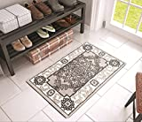 Well Woven Chateau Medallion Grey French Aubusson Modern 2 x 3 (20'' x 31'' Mat) Area Rug Easy Clean Stain Fade Resistant Shed Free Contemporary Kitchen Doormat Entry Rug