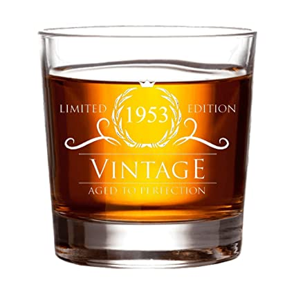 1953 65th Birthday Gifts For Women And Men Whiskey Glass