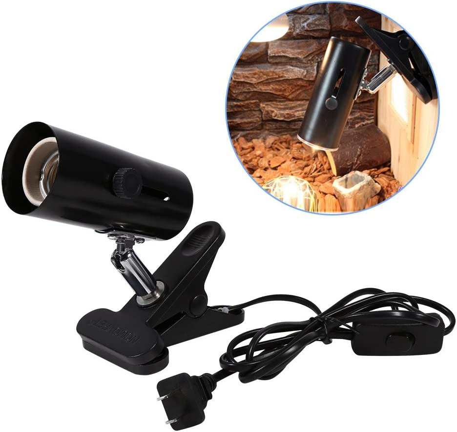 Soporte para lámpara de reptil, abrazadera giratoria ajustable de 360 grados Accesorio de lámpara Cabeza de metal universal Soporte de luz de calor de cerámica para mascotas Lámparas de calor Uso