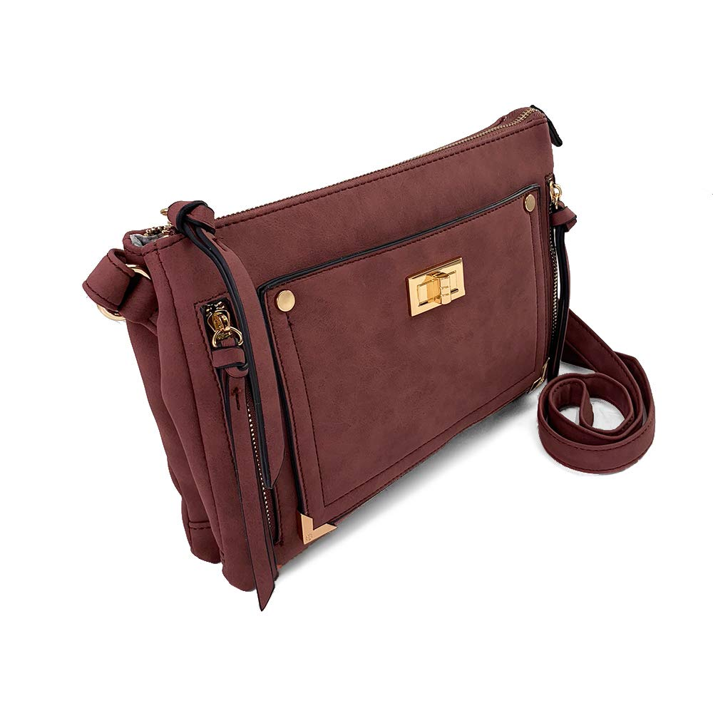Amazon.com  VIOLET RAY TRIPLE COMPARTMENT CROSSBODY WITH ZIP POCKETS AND  TURNLOCK  Shoes e15cee835756b