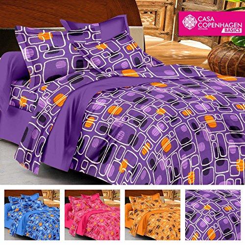 Casa Copenhagen- Basic 144 Thread Count 100% Cotton Double Bedsheet With 2 Pillow Cover- Purple,Yel
