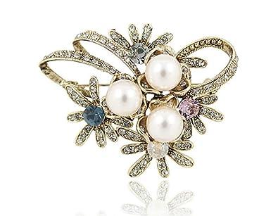 1171ce15f9aa El más nuevo de Imitación de Perla Rhinestone Flor de Cristal Broche Broche  para Mujer Sombreros Clips Corsages Marca Bisutería  Amazon.es  Joyería