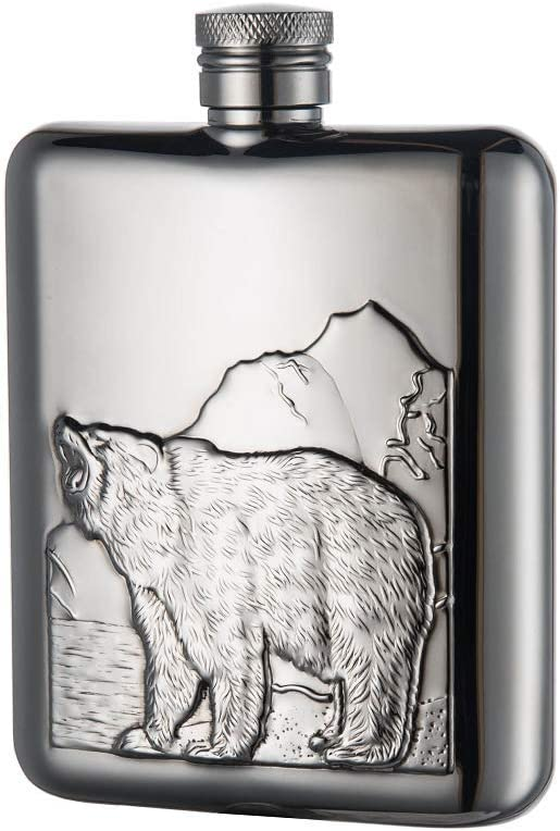 LANZON Hip Flask with Funnel, All 18/8 304 Food Grade Stainless Steel Curved Pocket Flask for Liquor | 6 OZ Capacity | Gift Boxed (Bear)