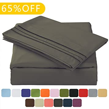 TasteLife 105 GSM Deep Pocket Bed Sheet Set Brushed Hypoallergenic Microfiber 1800 Bedding Sheets Wrinkle, Fade, Stain Resistant - 4 Piece(Dark Grey,Queen)