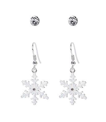 a39040b7b SIX earrings, ear studs, earrings, Christmas motif, Christmas jewellery,  rhinestones, snowflake, glitter, white, silver (778-767): SIX: Amazon.co.uk:  ...