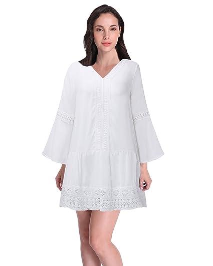 Zanzea Mujer Vestidos Blancos Cortos Casuales Verano