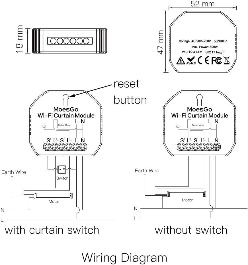 compatible avec lapplication Smart Life//Tuya et les syst/èmes  Alexa et Google Home 1 PCS MoesGo Mini module dinterrupteur intelligent avec fonction WiFi pour stores /électriques