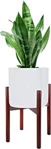 FEED GARDEN Plant Stand Mid Century Wood Flower Pot Holder Potted Stand Indoor Flower Potted Plant Holder Plants Display Rack, Up to 10 Inch Planter, Brown(Plant Pot NOT Included)