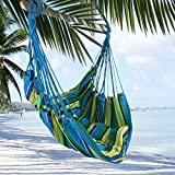 Tropical Stripe Hanging Rope Chair Hammock Swing +Two Lightweight Pillows+Wooden Stretcher Bar+Color+Caribbean Calm+220LBS by Breeze Hammocks0153;