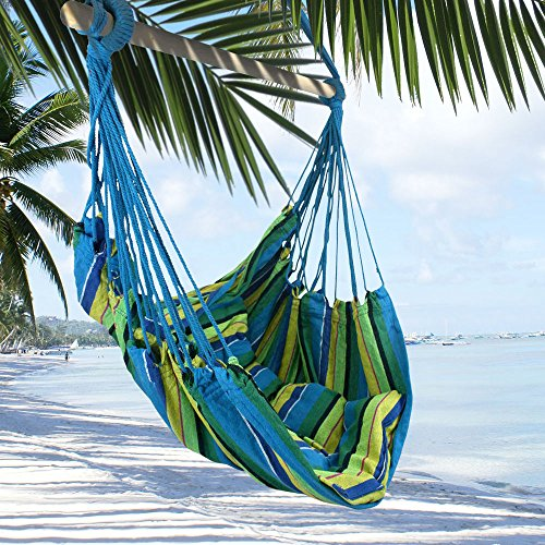 ing Rope Chair Hammock Swing +Two Lightweight Pillows+Wooden Stretcher Bar+Color+Caribbean Calm+220LBS by Breeze Hammocks0153; ()