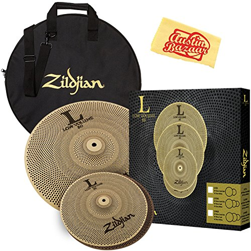 (Zildjian LV38 Low Volume Cymbal Set Bundle with Gig Bag and Austin Bazaar Polishing Cloth)