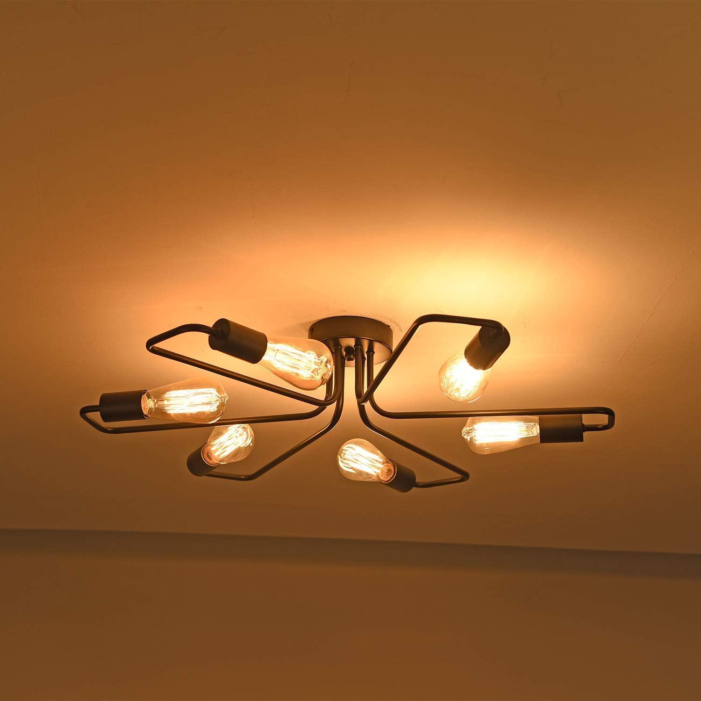 Bronzo, 4 ENCOFT Vintage Lampadario Industriale Lampada a Sospensione Base E27 Lampada da Soffitto Soggiorno Camera da Letto Nero Senza Lampadina