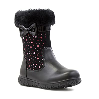 Walkright Girls Black Fur Top Diamante Calf Boot - Size 4 Child UK - Black