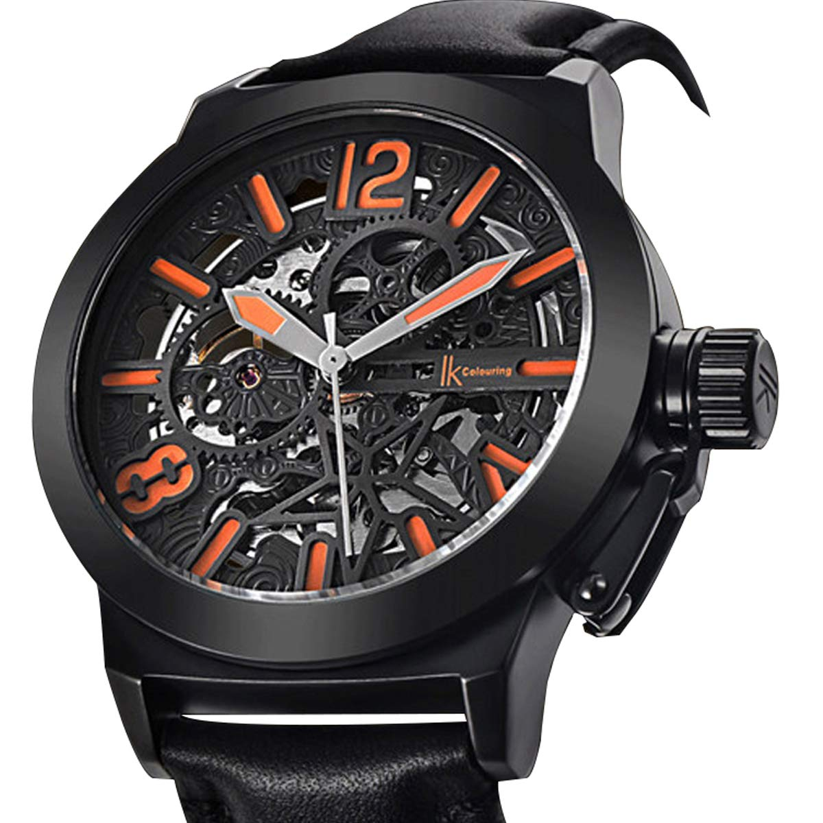 Gute Mechanical Men Automatic Watch, Motion Style Tone Self Winding Genuine Black Leather Band Watch by GLEIM (Image #1)