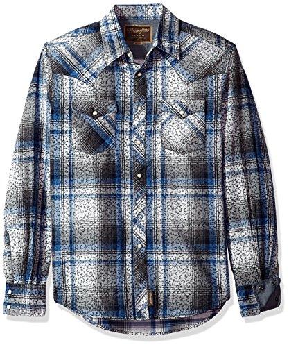 (Wrangler Men's Retro Two Pocket Long Sleeve Snap Shirt, blue/white/grey, XL)