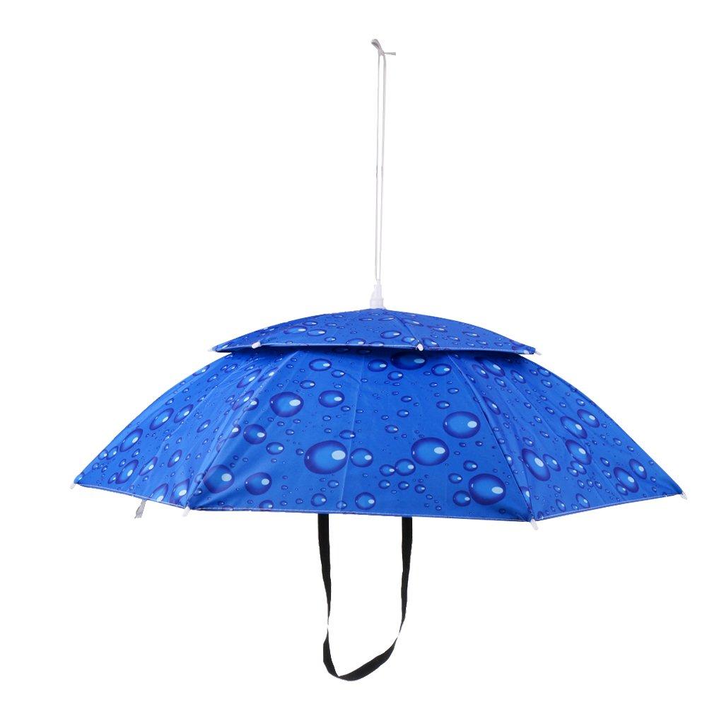 MagiDeal Chapeau Parapluie de T/ête Pliant Anti-UV Parasol Double /étage Protection Pour P/êche Randonn/ée Camping Cyclisme