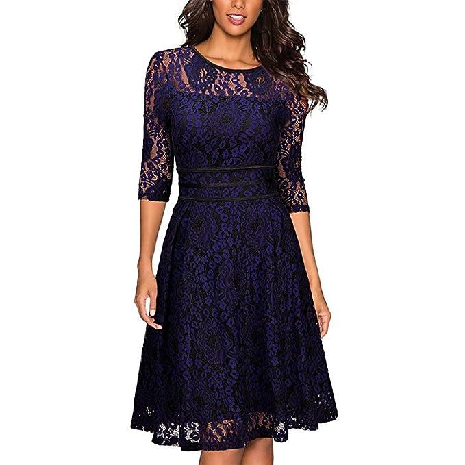 Mujer vestido de fiesta verano Femme elegante boda vestido Vintage Lace Bodycon vestidos noche Vestidos Maix Maxi: Amazon.es: Ropa y accesorios
