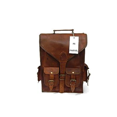 "good Fastyl Handmade 15"" Arnica Vintage Genuine Mens Womens Leather Laptop School Book Bag Backpack Rucksack"
